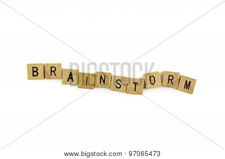 Brainstorm Word Wooden Alphabet Blocks On White Background From Top View