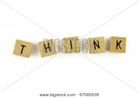 Think Text On Wooden Cubes, Isolated On White Background
