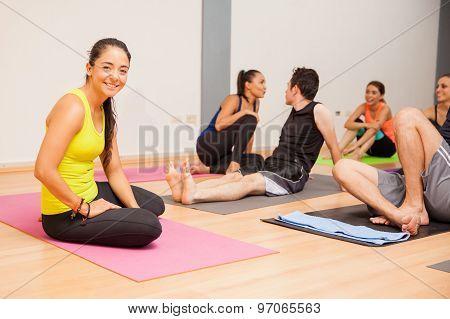 Happy Yoga Instructor Taking A Break