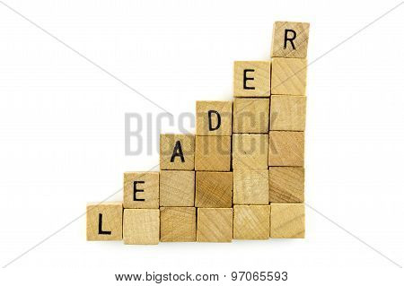 Leader Text On Wooden Cubes, Isolated On White Background