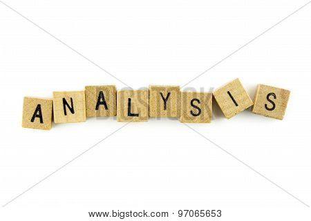 Analysis Text On Wooden Cubes, Isolated On White Background