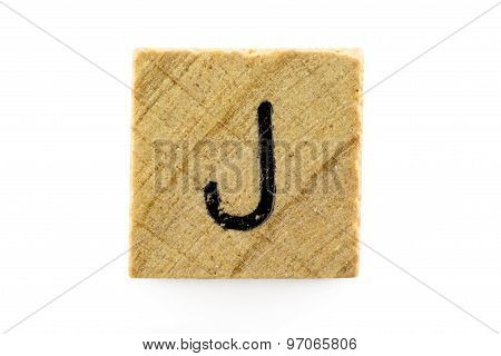 Wooden Alphabet Blocks With Letters J