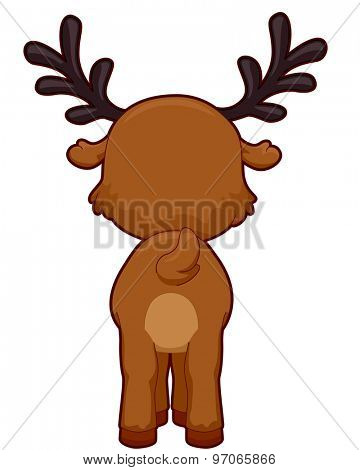 Cutesy Illustration Featuring the Back of a Reindeer