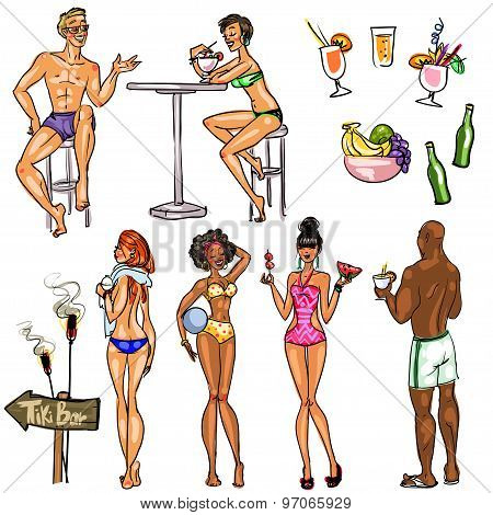 Tiki Bar People, Hand drawn vector