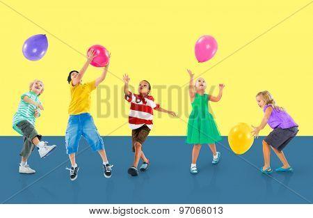 Multiethnic Children Balloon Happiness Friendship Concept