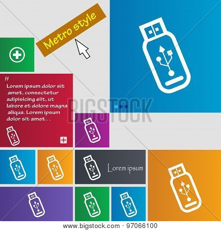 Usb Flash Drive Icon Sign. Buttons. Modern Interface Website Buttons With Cursor Pointer. Vector