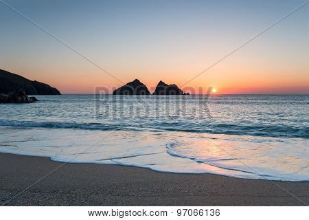 Sunset At Holywell Bay