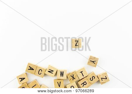 Wooden Alphabet Blocks With Many Letters