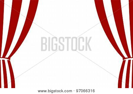 Red Curtain Opened On A White Background.