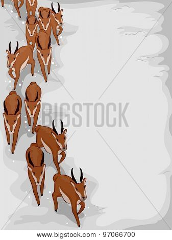Illustration of a Herd of Antelopes Migrating to Escape the Winter Season