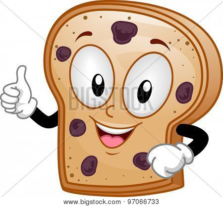 Mascot Illustration of a Raisin Bread Giving a Thumbs Up