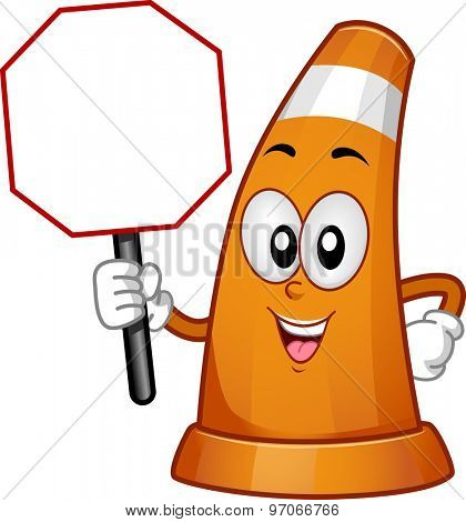 Mascot Illustration of a Traffic Cone Holding a Traffic Sign