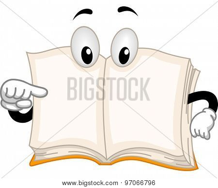 Mascot Illustration of an Open Book Pointing to Itself