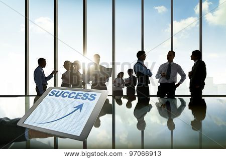 Business People Silhouette Conference Brainstorming Teamwork Success Concepts