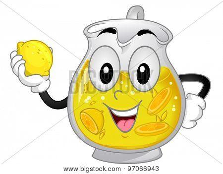 Background Illustration of a Lemonade Mascot Holding a Lemon