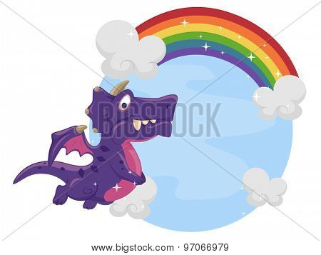 Illustration of a Purple Dragon Hovering Near a Rainbow