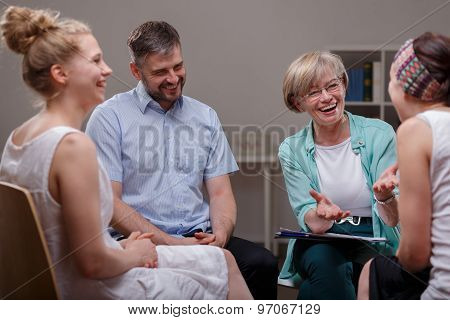 Group During Meeting With Therapist