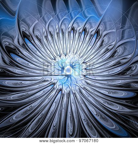 Abstract Fractal Design. Splash Of Blue Silver.