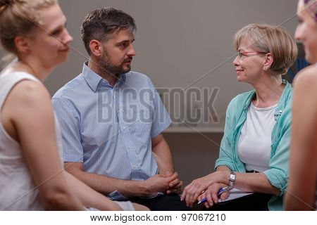 Patients Talking With Psychologist