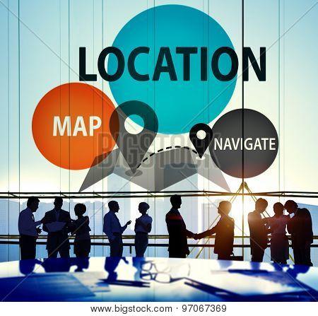 Location Destination Navigation Map Direction Concept