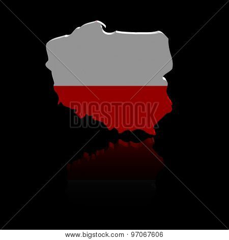 Poland map flag with reflection illustration