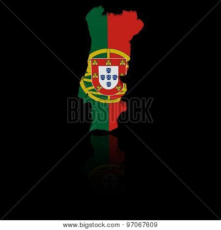 Portugal map flag with reflection illustration