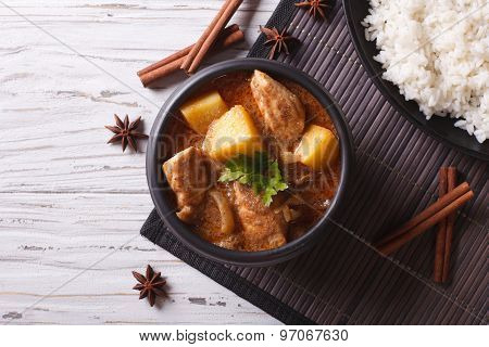 Thai Massaman Curry With Chicken And Rice. Horizontal Top View