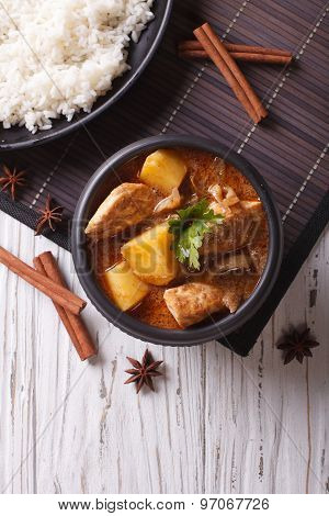 Thai Massaman Curry With Chicken And Rice. Vertical Top View