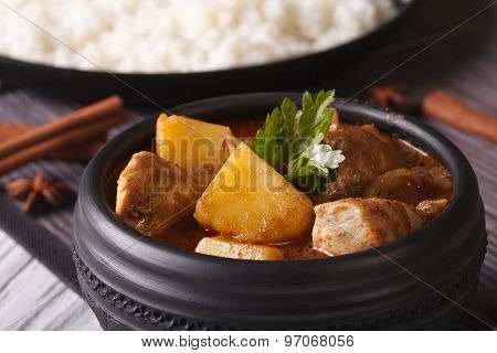 Massaman Curry With Chicken Macro In A Bowl On The Table. Horizontal