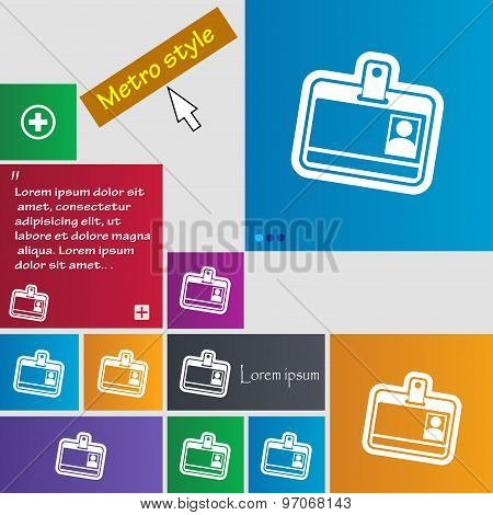 Id Card Icon Sign. Buttons. Modern Interface Website Buttons With Cursor Pointer. Vector