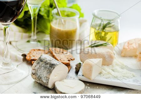 Assorted Cheese Plate with vegetables