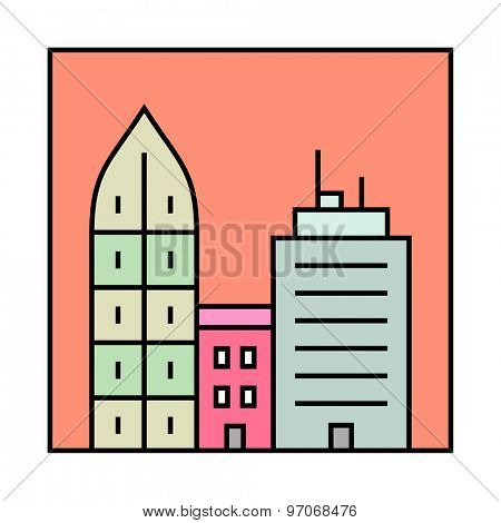 City skyline and buildings. Urban vector icon