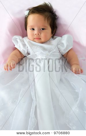 Baby Girl In Baptism Dress
