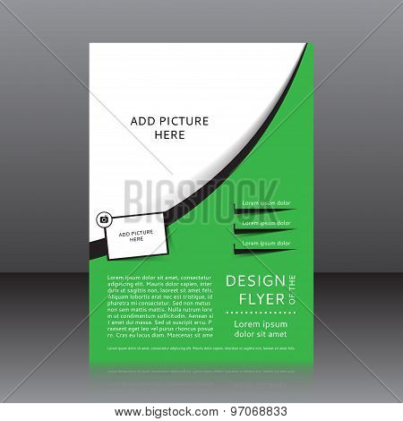 Vector design of the green flyer whit black elements and place for pictures