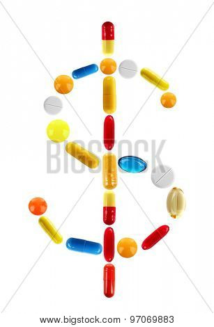 Dollar sign made with pills isolated on white