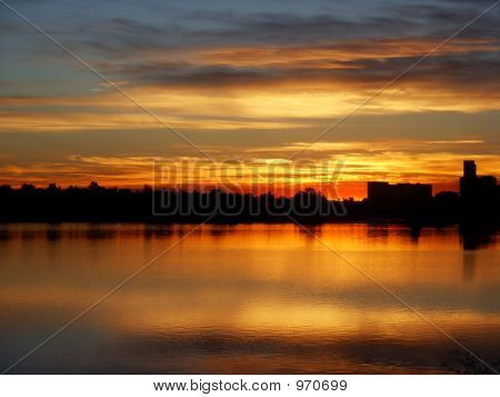 Denver Sunrise With A Lake