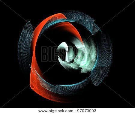Abstract Fractal Design.broken Blue Wheel And Red Curl On Black.