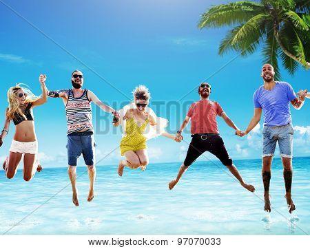 Beach Summer Friends Jumping Happiness Concept