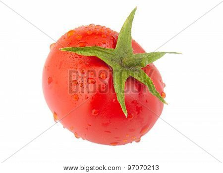 Tomato with drops isolated on a white background