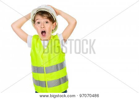 Cute boy in a costume of a builder posing with different emotions. Isolated over white.