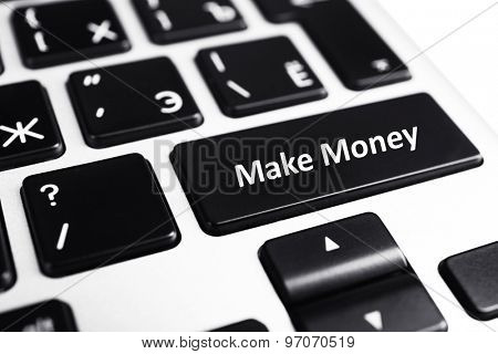 Close up of Make money keyboard button