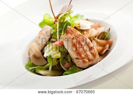 BBQ Chicken Breast with Mushrooms and Salad