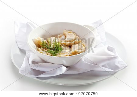 Dumplings Bowl with Herbs and Butter