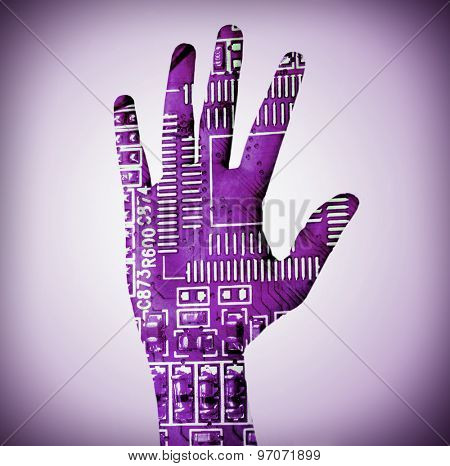 Human palm with microchip picture on it on bright color background