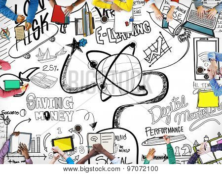 E-learning Education Sketch Drawing Doodle Concept