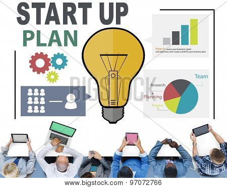 Startup Goals Growth Success Plan Business Concept