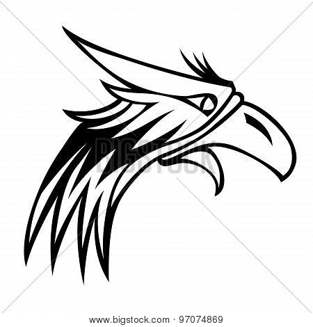 eagle isolated on white background for mascot or emblem design.