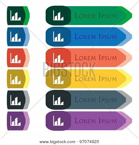 Chart Icon Sign. Set Of Colorful, Bright Long Buttons With Additional Small Modules. Flat Design