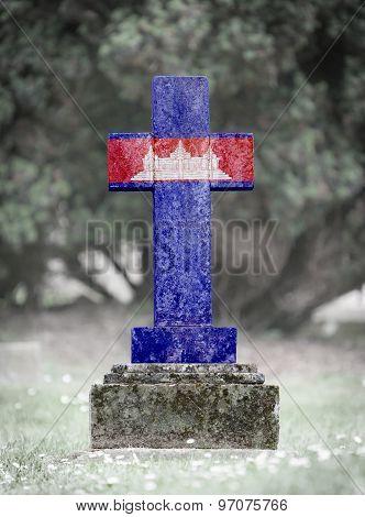 Gravestone In The Cemetery - Cambodia