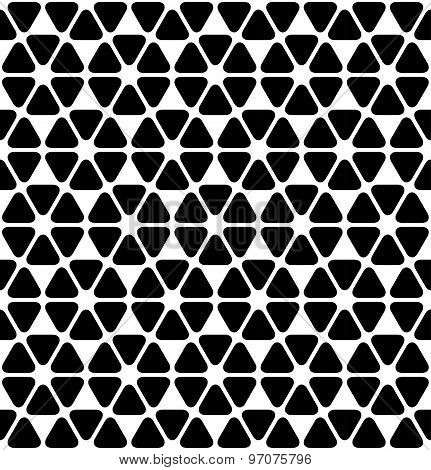Black And White Geometric Seamless Pattern With Rounded Triangle, Abstract Background.